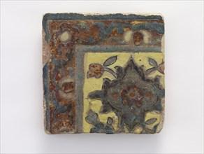 Corner piece tile, Qajar period, 17th century. Creator: Unknown.