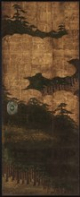 Pine trees, water and clouds, Edo period, 17th century. Creator: Unknown.