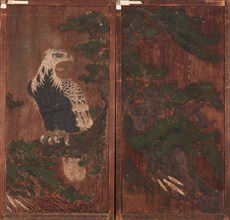 Pair of doors with eagle on a pinetree on one side..., Momoyama period, (17th century?). Creator: Unknown.