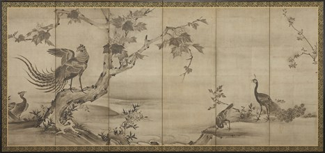 Birds, flowers, and trees: on the back, bamboo trees, Momoyama period, 1568-1615. Creator: Unknown.