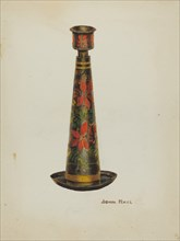 Toleware Candlestick, 1935/1942. Creator: John Hall.