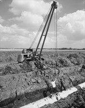 Workers laying a section of the Fens gas pipeline, Norfolk, 10/08/1967. Creator: John Laing plc.