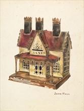 Painted Tin Toy Bank, c. 1940. Creator: John Hall.