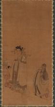 The dragon king revering the Buddha, Ming dynasty, early-mid 17th century. Creator: Chen Hongshou.