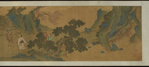Landscape with Daoist immortals in the mountains, Ming or Qing dynasty, 17th century. Creator: Unknown.