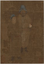 Two male figures, standing, Ming dynasty, 17th century. Creator: Unknown.