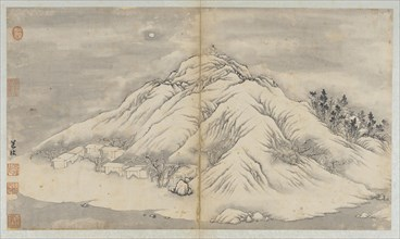 Winter landscape: a moon-lit hill and buildings, Qing dynasty, 18th century. Creator: Unknown.