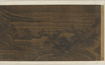 River Valley with houses and temples, Ming dynasty, 15th-16th century. Creator: Unknown.