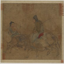 Old woman on ox, with herd-boy and calf, Possibly Ming dynasty, 1368-1644. Creator: Unknown.