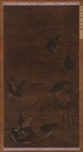 Eight Mynah Birds with Bamboo and Orchids, Ming dynasty, 16th century. Creator: Unknown.