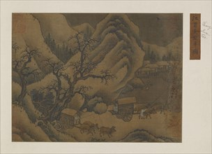 Winter landscape: ox-carts on the road, Possibly Ming dynasty, 1368-1644. Creator: Unknown.