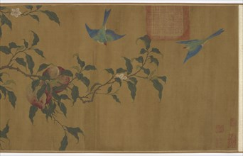 Birds among peach branches, Qing dynasty, (18th century?). Creator: Unknown.