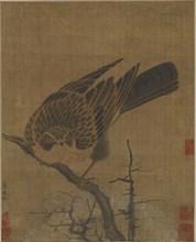Hawk on a leafless branch, Possibly Yuan dynasty, 1279-1368. Creator: Unknown.