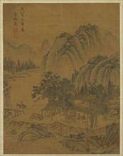 Way-station and travelers, Ming dynasty, 16th century. Creator: Unknown.