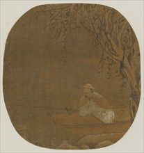 Man fishing from a boat under a tree, Possibly Ming dynasty, 1368-1644. Creator: Unknown.