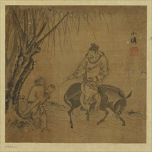 Mounted traveler and servant bearing a zither, Ming dynasty, 1368-1644. Creator: Unknown.