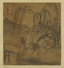 Two travelers in the rain, Possibly Ming dynasty, 1368-1644. Creator: Unknown.