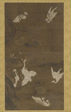 Nine White Egrets and a Willow Tree, Ming dynasty, 15th century. Creator: Unknown.