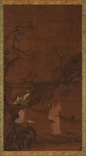 Man and woman enjoying plum blossoms, Ming or Qing dynasty, 15th-18th century. Creator: Unknown.