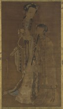 Courtesans with fan and flute, Qing dynasty, 17th-18th century. Creator: Unknown.