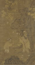 Two boys playing with the puppet of a lion, Ming dynasty, 15th-16th century. Creator: Unknown.