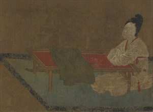Girl seated at an embroidery frame, Ming dynasty, 15th century. Creator: Unknown.