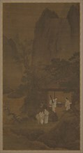 Visitor to a mountain retreat, Ming dynasty, 16th century. Creator: Unknown.
