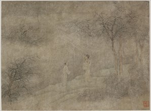 Two men walking in misty grove, Ming dynasty, 1368-1644. Creator: Unknown.