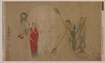 Washing the elephant, Ming dynasty, 17th century. Creator: Unknown.