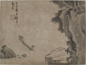 Shooting rapids under high cliffs, Possibly Yuan dynasty, (14th century?). Creator: Unknown.