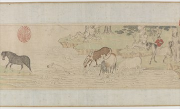 Horses and Grooms Crossing a River, Yuan or early MIng dynasty, 14th century. Creator: Unknown.