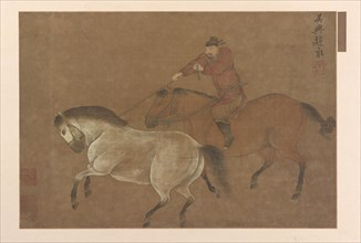 A Rider Lassoing a Horse, Ming dynasty, 1369-1644. Creator: Unknown.