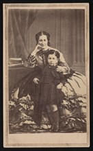 Portrait of Euge´nie de Montijo (1826-1920) and Son, Circa 1860s. Creator: E. & H.T. Anthony.