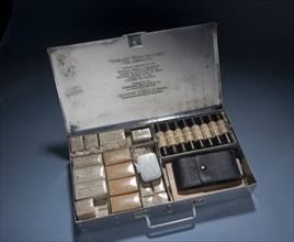 Medical kit carried aboard the Douglas World Cruiser by Lt. Lowell Smith, c. 1924.. Creator: Unknown.