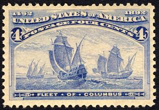 4c Fleet of Columbus single, 1893. Creator: American Bank Note Company.