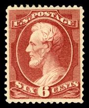 6c Abraham Lincoln single, 1882. Creator: American Bank Note Company.
