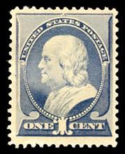 1c Franklin single, 1887. Creator: American Bank Note Company.