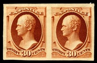 30c Alexander Hamilton India plate proof pair, 1888. Creator: American Bank Note Company.