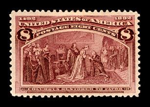 8c Columbus Restored to Favor single, 1893. Creator: American Bank Note Company.