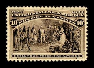 10c Columbus Presenting Natives single, 1893. Creator: American Bank Note Company.