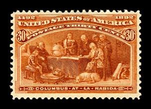 30c Columbus at La Rabida single, 1893. Creator: American Bank Note Company.