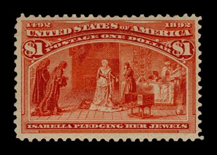 $1 Queen Isabella Pledging Her Jewels single, 1893. Creator: American Bank Note Company.