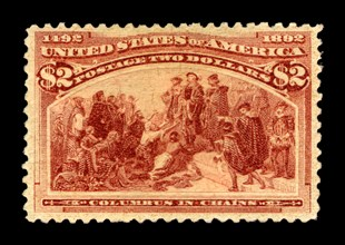 $2 Columbus in Chains single, 1893. Creator: American Bank Note Company.