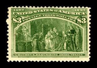 $3 Columbus Describing His Third Voyage single, 1893. Creator: American Bank Note Company.
