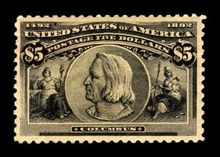 $5 Christopher Columbus single, 1893. Creator: American Bank Note Company.