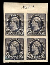 30c Thomas Jefferson proof plate block of four, February 22, 1890. Creator: American Bank Note Company.