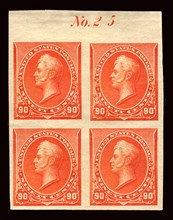90c Commodore Oliver Hazard Perry proof plate block of four, February 22, 1890. Creator: American Bank Note Company.