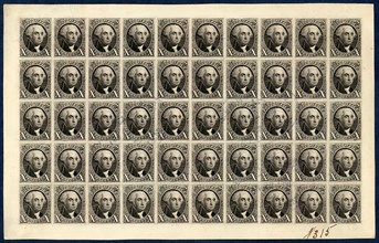 10c Washington reproduction plate proof on card sheet of fifty, 1891. Creator: Bureau of Engraving and Printing.