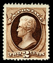 2c Andrew Jackson special printing single, 1875. Creator: Continental Bank Note Company.