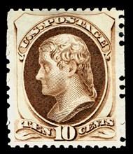 10c Thomas Jefferson special printing single, 1875. Creator: Continental Bank Note Company.